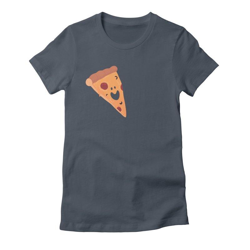 Happy Cheesy Pizza Women's T-Shirt by Kadusaurus's Shop