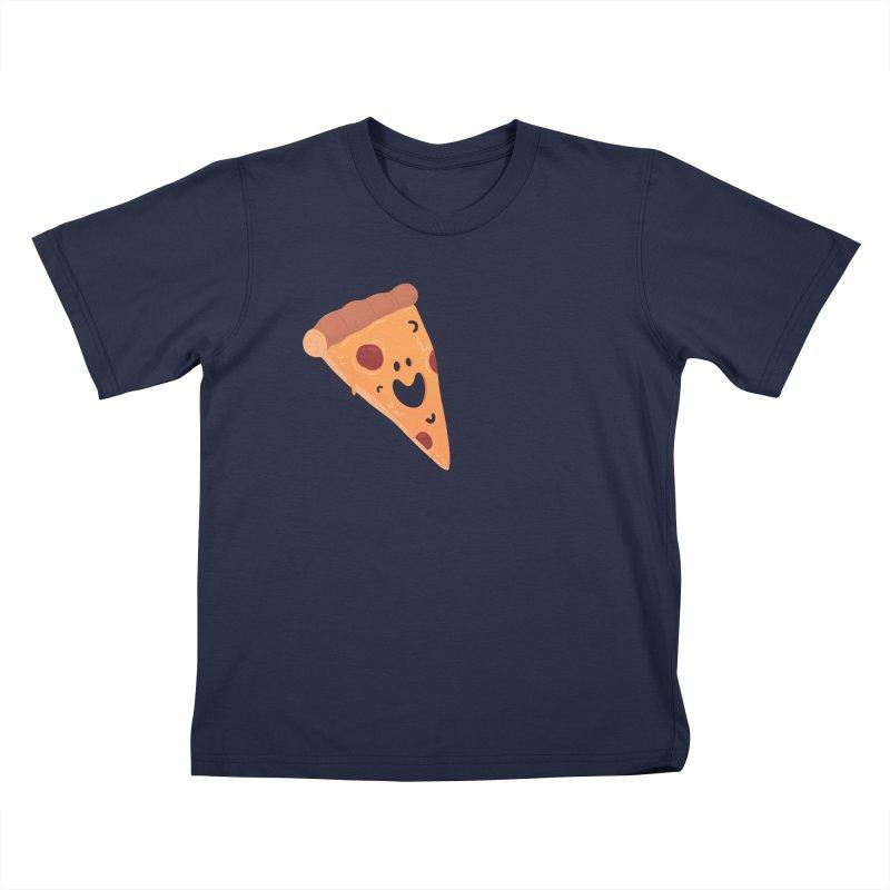 Happy Cheesy Pizza Kids T-Shirt by Kadusaurus's Shop