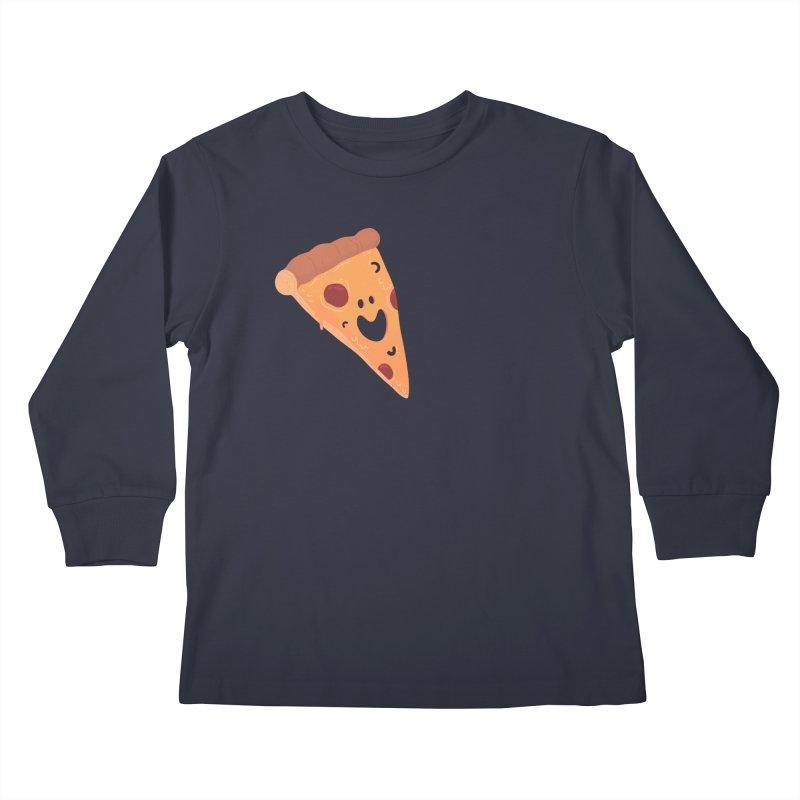 Happy Cheesy Pizza Kids Longsleeve T-Shirt by Kadusaurus's Shop