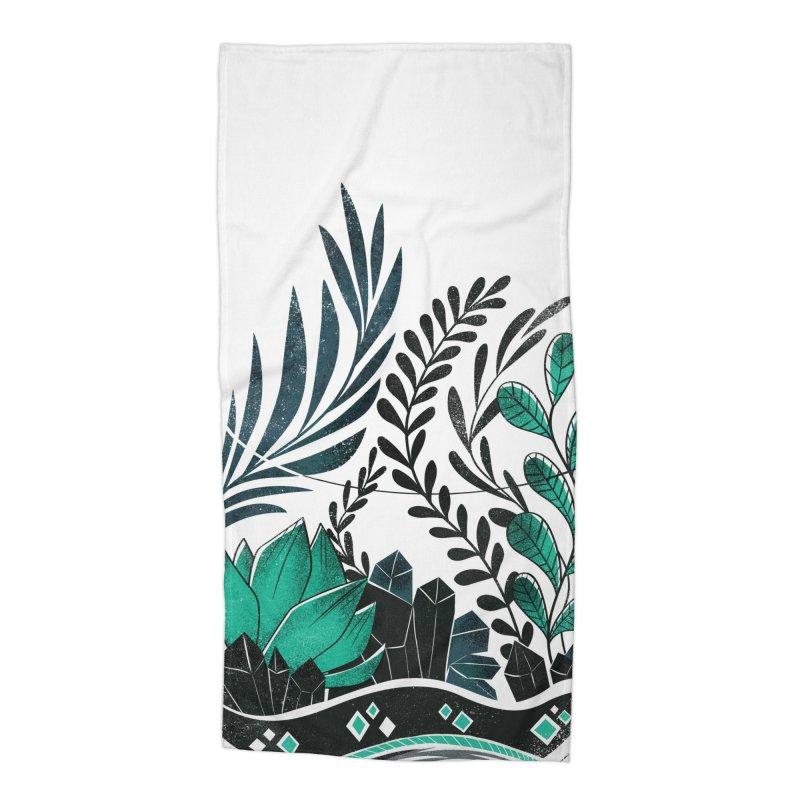 Emerald Terrarium Accessories Beach Towel by Kaija Lea Art Shop // Prints, Gifts + Home Goods