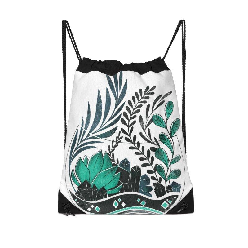 Emerald Terrarium Accessories Drawstring Bag Bag by Kaija Lea Art Shop // Prints, Gifts + Home Goods