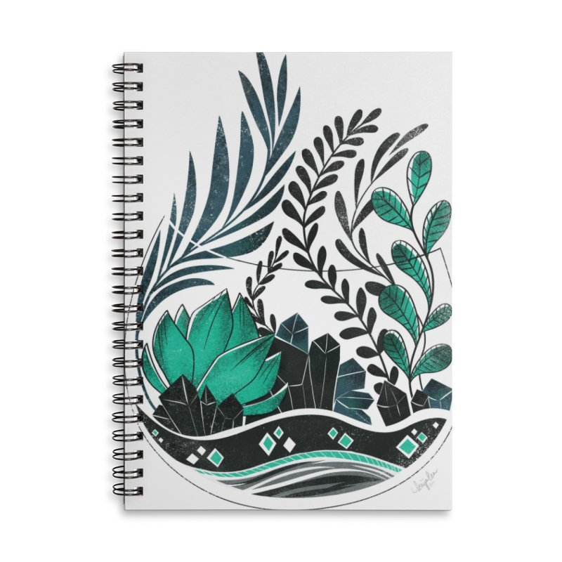 Emerald Terrarium Accessories Lined Spiral Notebook by Kaija Lea Art Shop // Prints, Gifts + Home Goods