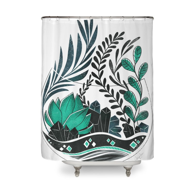 Emerald Terrarium Home Shower Curtain by Kaija Lea Art Shop // Prints, Gifts + Home Goods