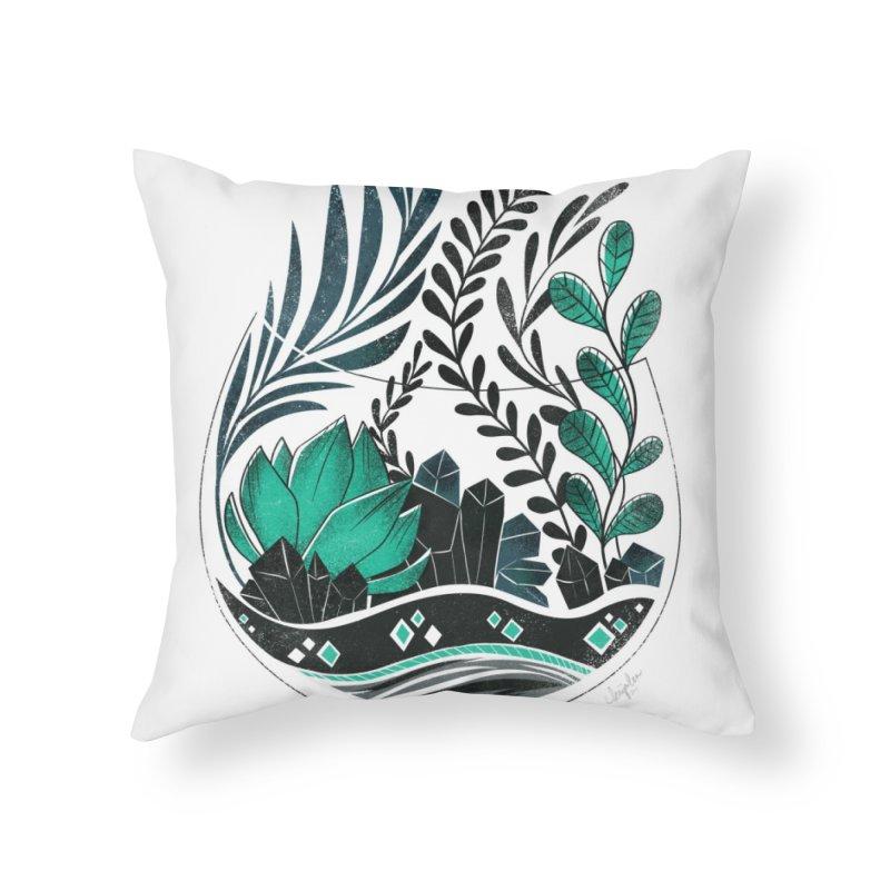 Emerald Terrarium Home Throw Pillow by Kaija Lea Art Shop // Prints, Gifts + Home Goods