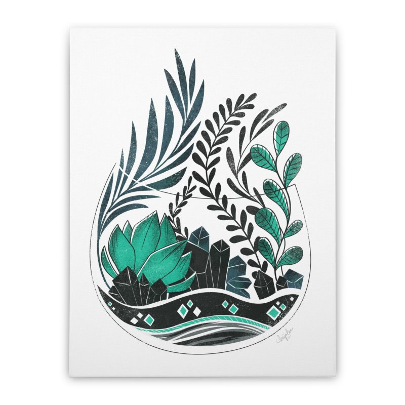 Emerald Terrarium Home Stretched Canvas by Kaija Lea Art Shop // Prints, Gifts + Home Goods
