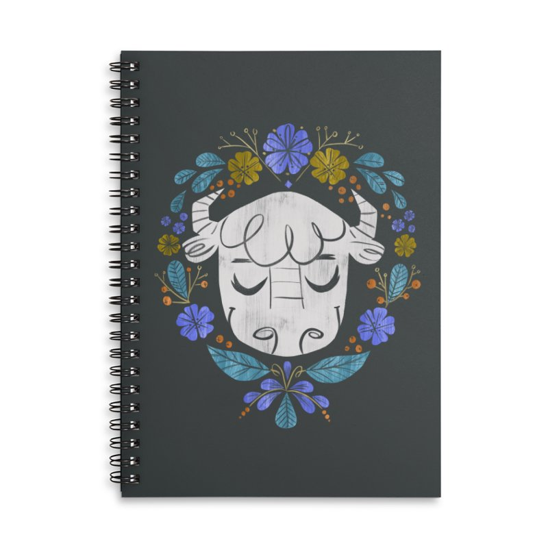 Midwest Bison - Vintage Flora Series Accessories Lined Spiral Notebook by Kaija Lea Art Shop // Prints, Gifts + Home Goods
