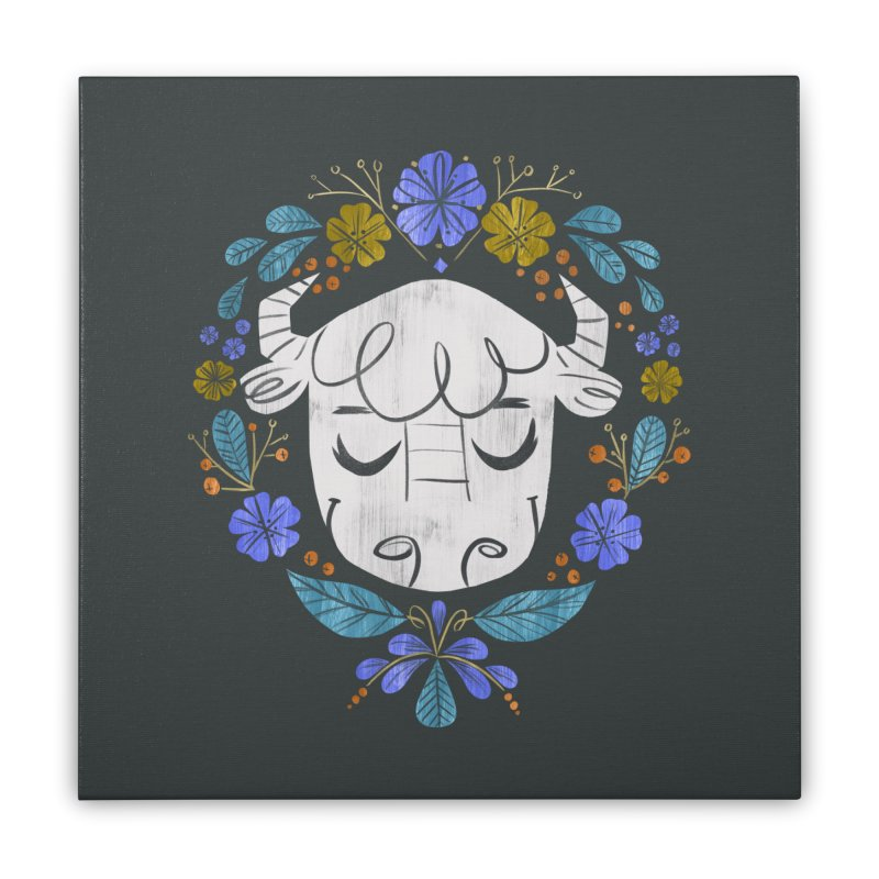 Midwest Bison - Vintage Flora Series Home Stretched Canvas by Kaija Lea Art Shop // Prints, Gifts + Home Goods