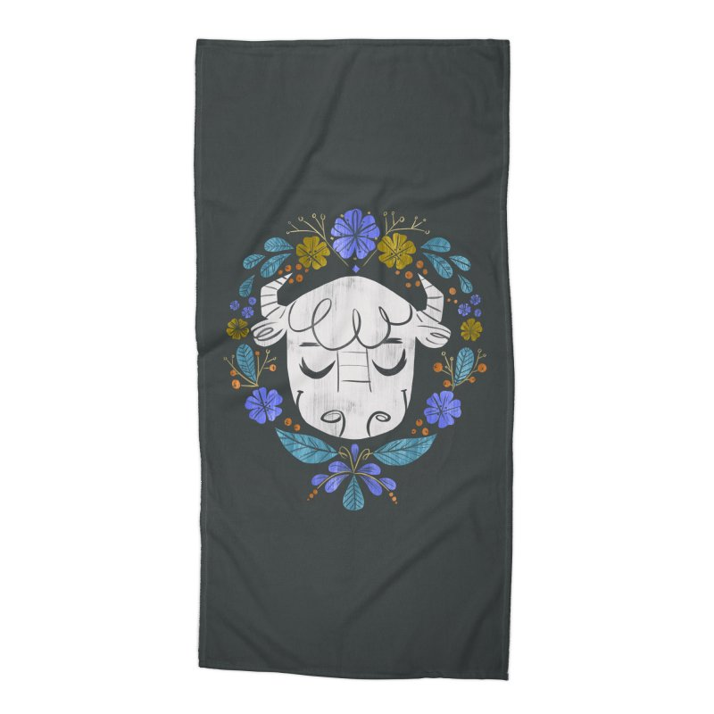 Midwest Bison - Vintage Flora Series Accessories Beach Towel by Kaija Lea Art Shop // Prints, Gifts + Home Goods