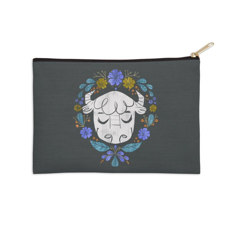 Midwest Bison - Vintage Flora Series Accessories Zip Pouch by Kaija Lea Art Shop // Prints, Gifts + Home Goods