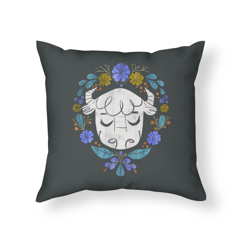 Midwest Bison - Vintage Flora Series Home Throw Pillow by Kaija Lea Art Shop // Prints, Gifts + Home Goods