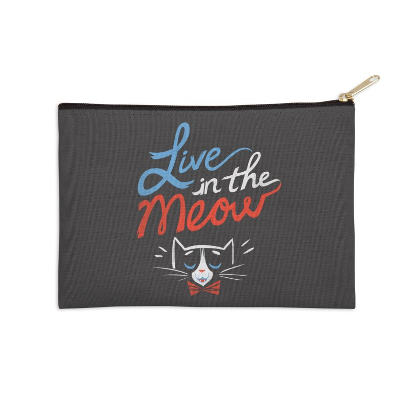 Live in the Meow Accessories Zip Pouch by Kaija Lea Art Shop // Prints, Gifts + Home Goods