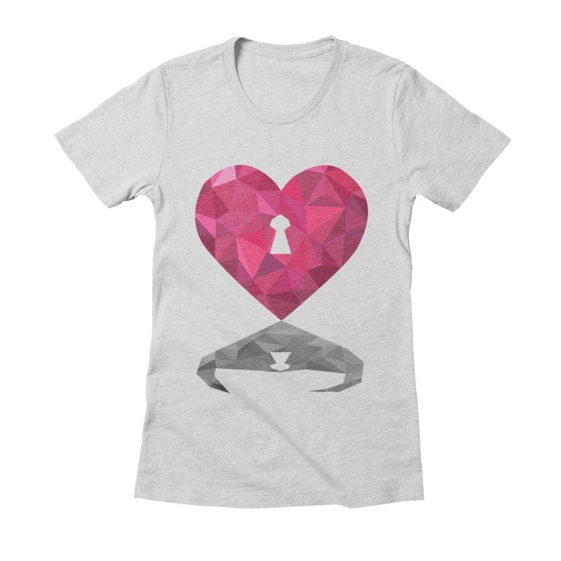 HARD HEART Women's Fitted T-Shirt by kajenoz's Artist Shop