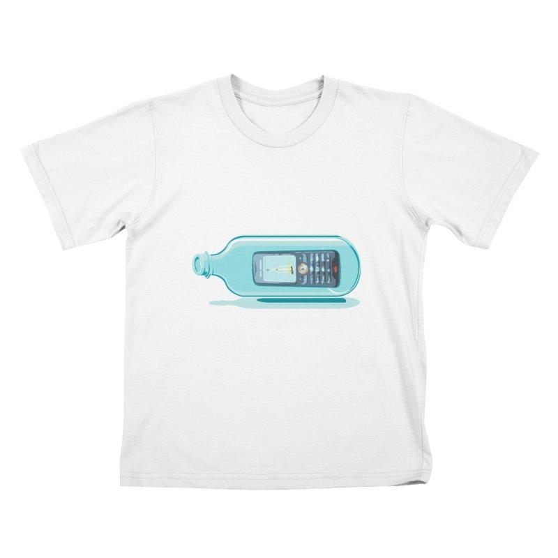 MODERN MESSAGE IN THE BOTTLE Kids T-Shirt by kajenoz's Artist Shop