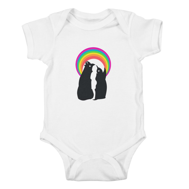 PENGUINS, GIRL, RAINBOW Kids Baby Bodysuit by kajenoz's Artist Shop