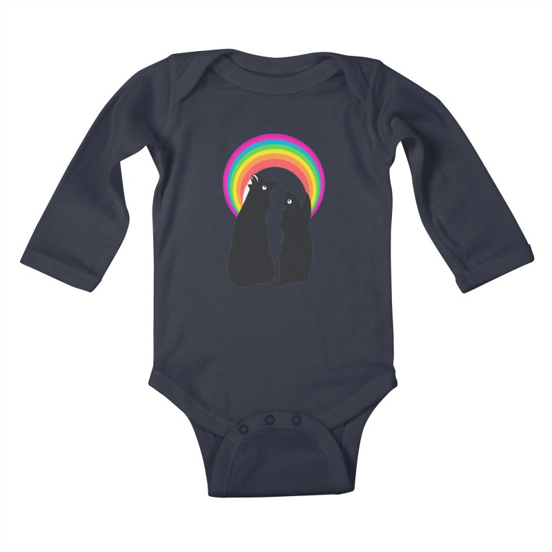 PENGUINS, GIRL, RAINBOW Kids Baby Longsleeve Bodysuit by kajenoz's Artist Shop
