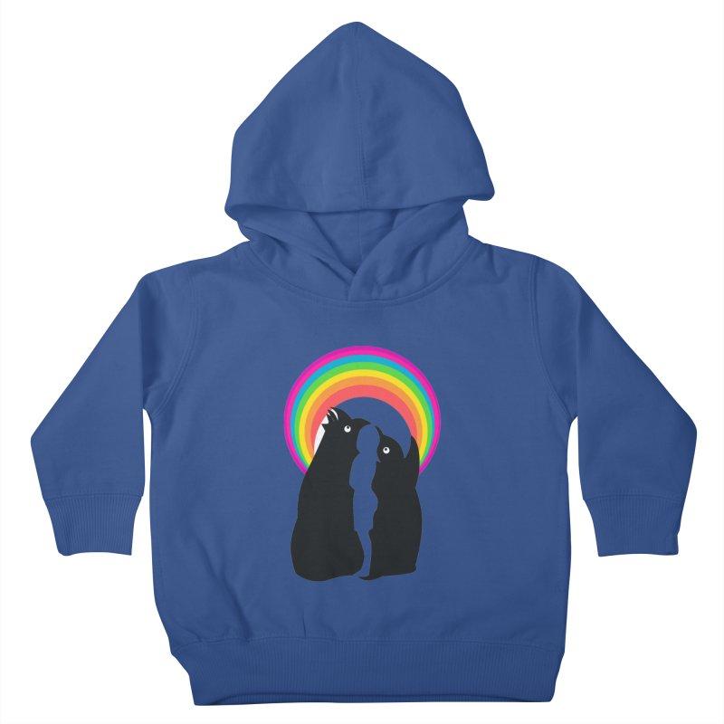 PENGUINS, GIRL, RAINBOW Kids Toddler Pullover Hoody by kajenoz's Artist Shop