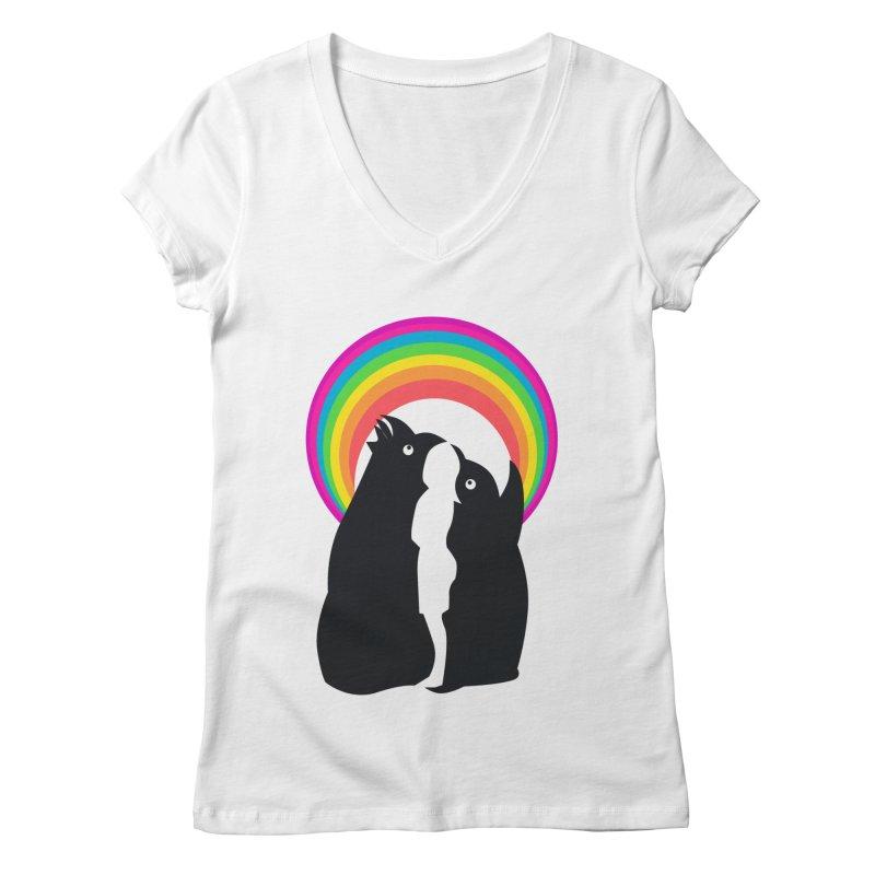 PENGUINS, GIRL, RAINBOW Women's V-Neck by kajenoz's Artist Shop