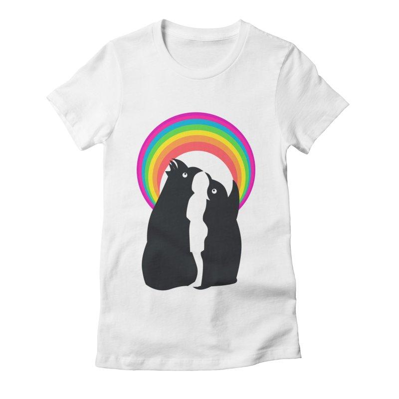 PENGUINS, GIRL, RAINBOW Women's Fitted T-Shirt by kajenoz's Artist Shop