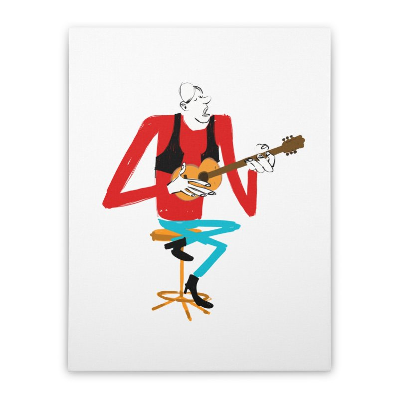 The Guitarist Home Stretched Canvas by Kanjano Shop
