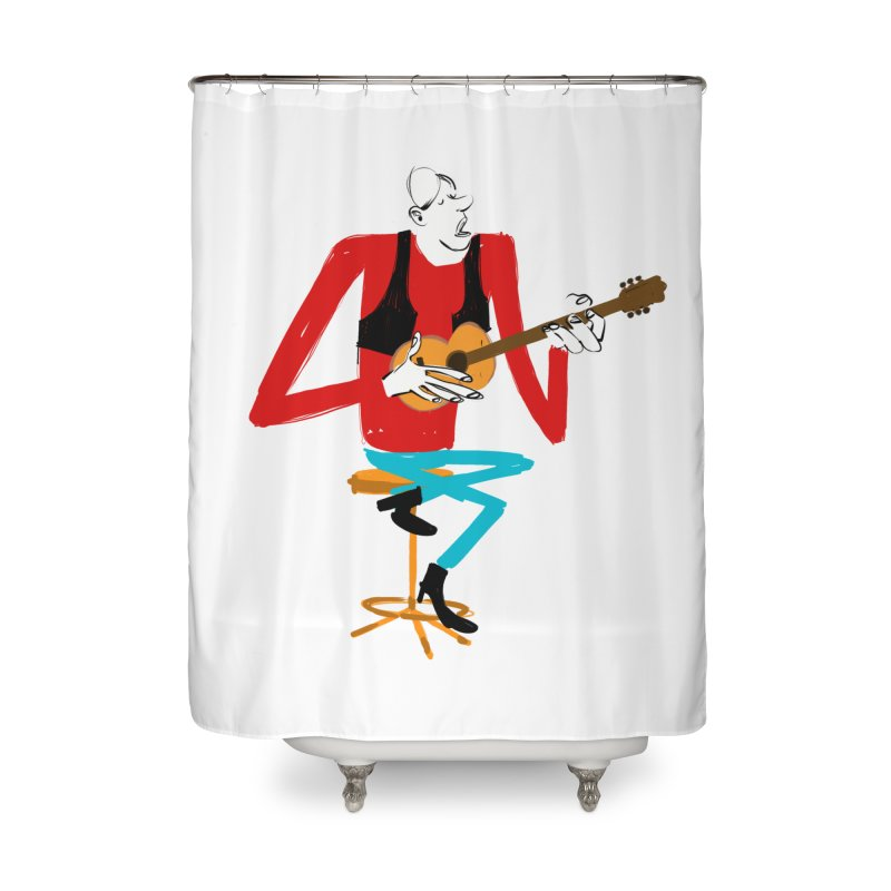 The Guitarist Home Shower Curtain by Kanjano Shop