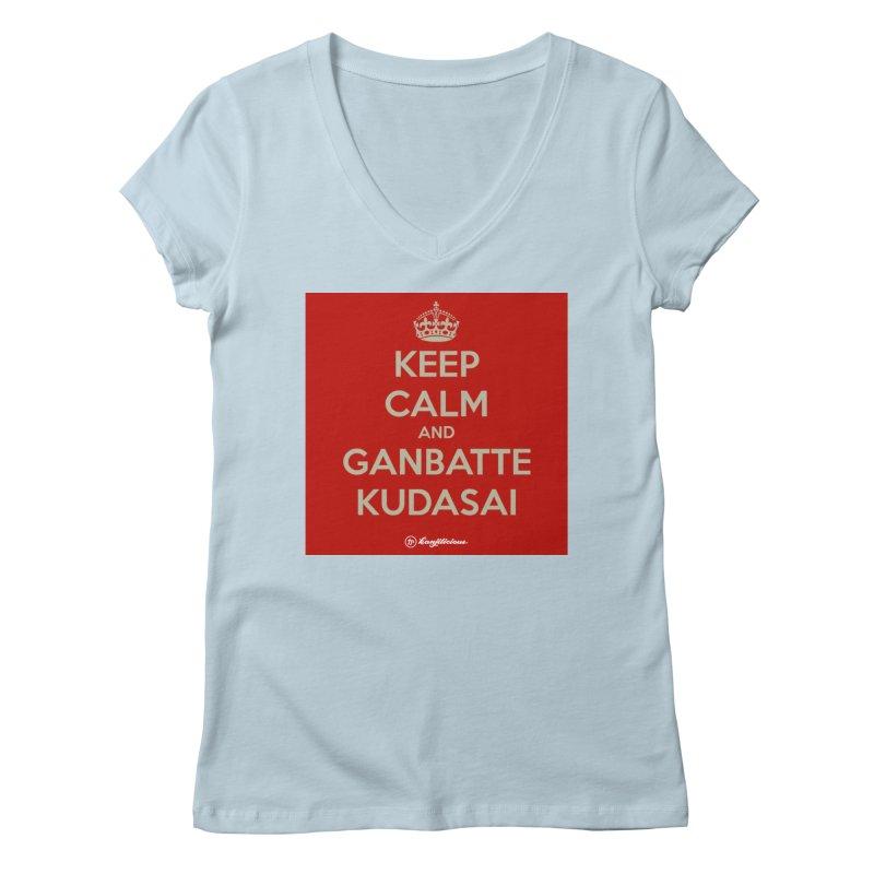 Keep Calm and Ganbatte Kudasai Women's V-Neck by Kanjilicious Artist Shop