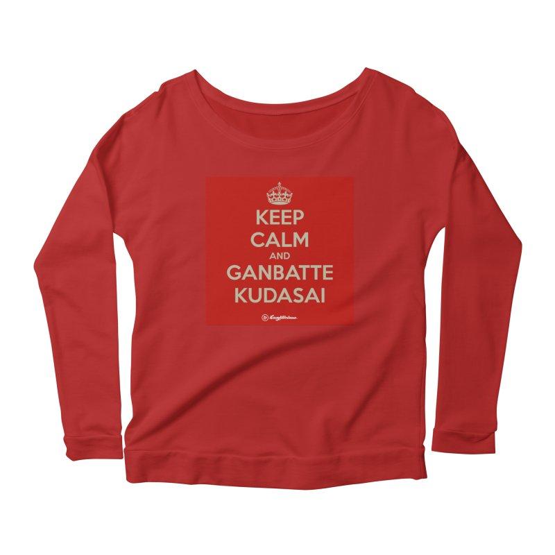 Keep Calm and Ganbatte Kudasai Women's Longsleeve Scoopneck  by Kanjilicious Artist Shop