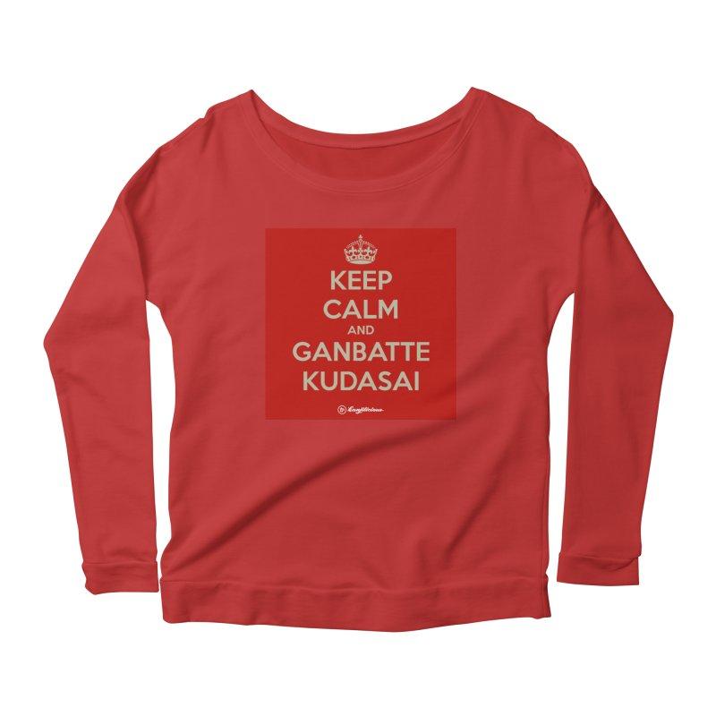 Keep Calm and Ganbatte Kudasai Women's Scoop Neck Longsleeve T-Shirt by Kanjilicious Artist Shop