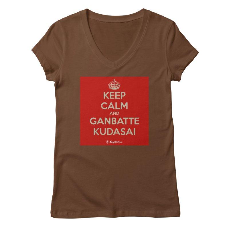 Keep Calm and Ganbatte Kudasai Women's Regular V-Neck by Kanjilicious Artist Shop