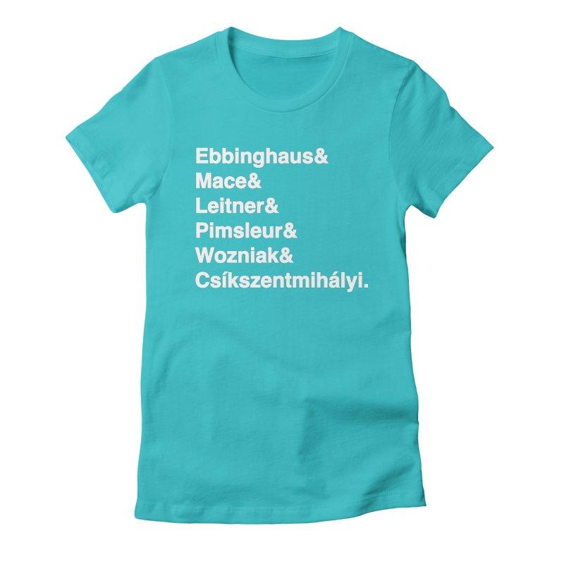 Memory Gurus (Helvetica List) Women's Fitted T-Shirt by Kanjilicious Artist Shop