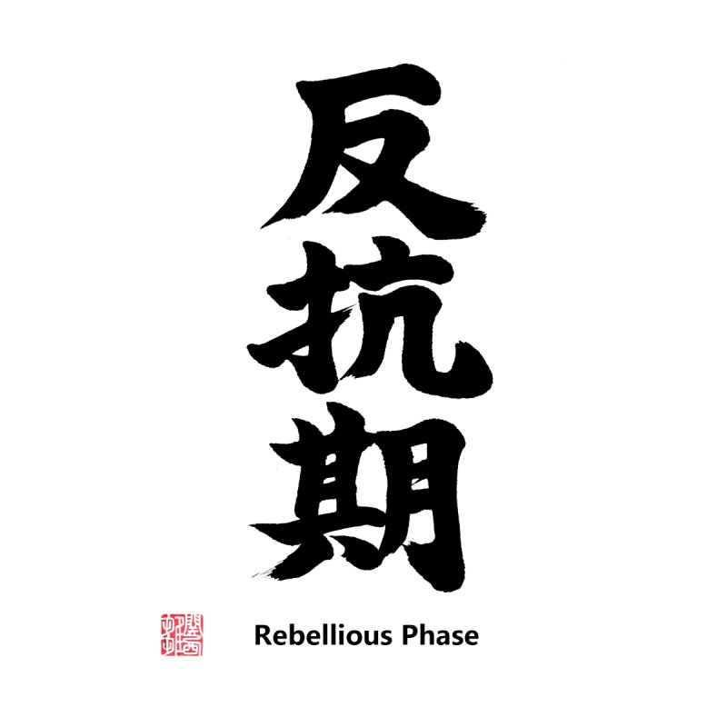 """Rebellious Phase"" (Hankouki) Black Japanese Kanji with Artist Stamp and English Text   by KansaiChick Japanese Kanji Shop"