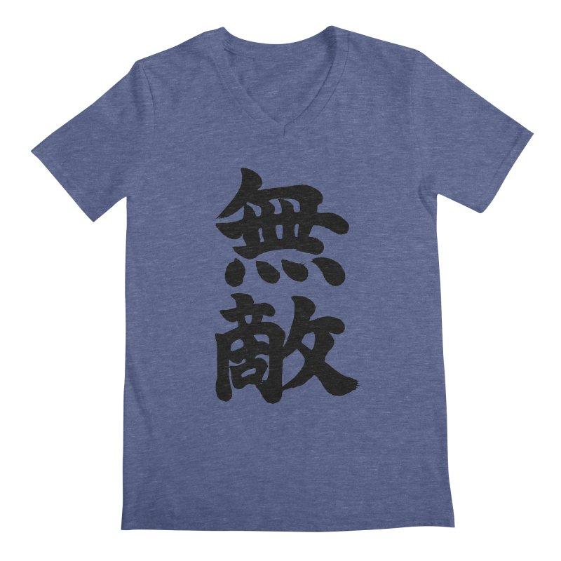 """Invincible"" (Muteki) Black Japanese Kanji Men's Regular V-Neck by KansaiChick Japanese Kanji Shop"