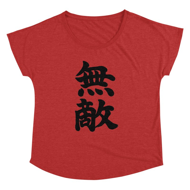 """Invincible"" (Muteki) Black Japanese Kanji Women's Dolman Scoop Neck by KansaiChick Japanese Kanji Shop"
