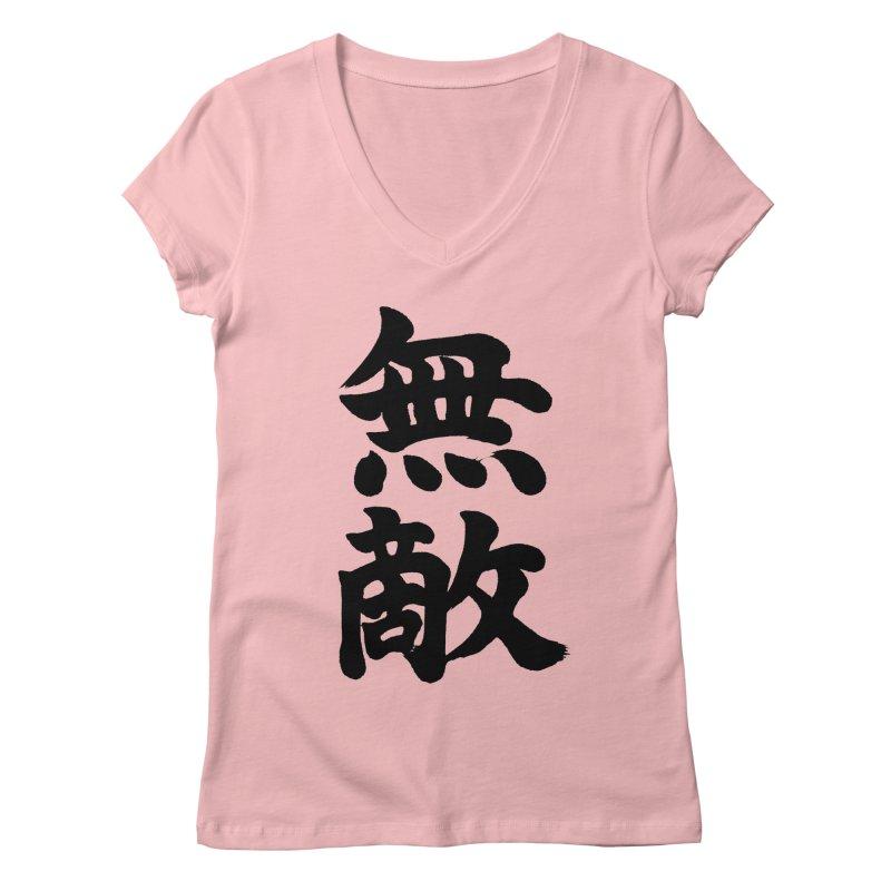 """Invincible"" (Muteki) Black Japanese Kanji Women's Regular V-Neck by KansaiChick Japanese Kanji Shop"