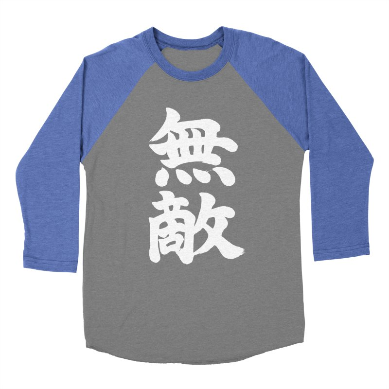 """Invincible"" (Muteki) White Japanese Kanji Women's Baseball Triblend Longsleeve T-Shirt by KansaiChick Japanese Kanji Shop"