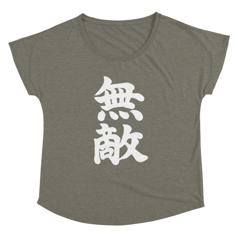 """Invincible"" (Muteki) White Japanese Kanji Women's Dolman Scoop Neck by KansaiChick Japanese Kanji Shop"