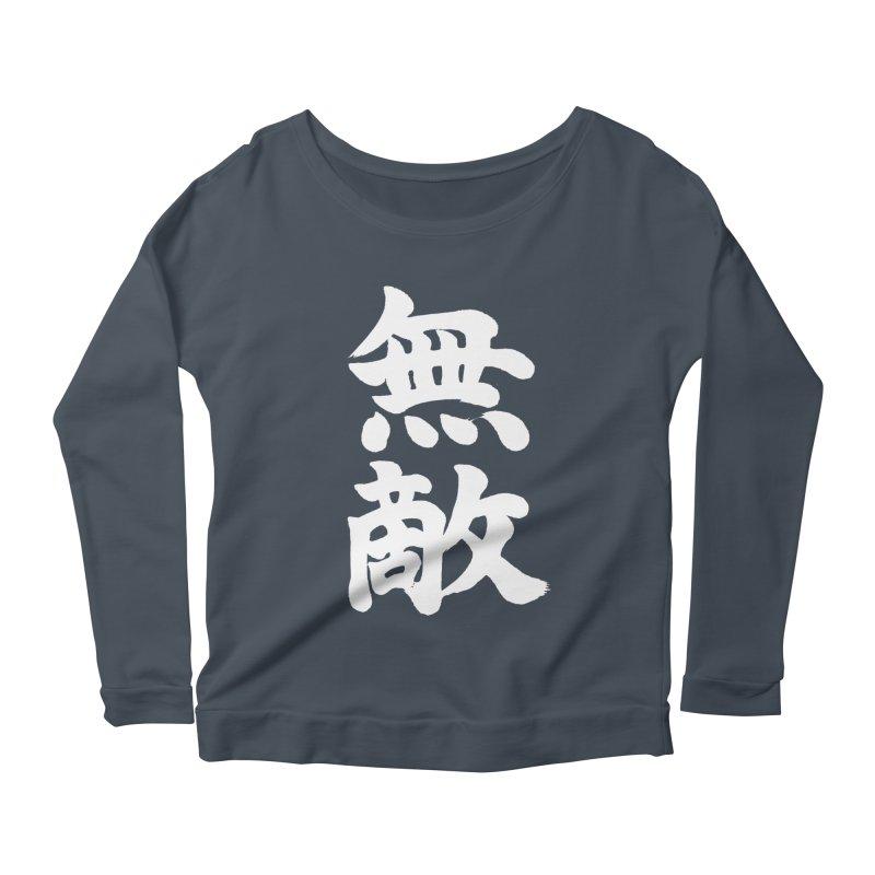 """Invincible"" (Muteki) White Japanese Kanji Women's Scoop Neck Longsleeve T-Shirt by KansaiChick Japanese Kanji Shop"