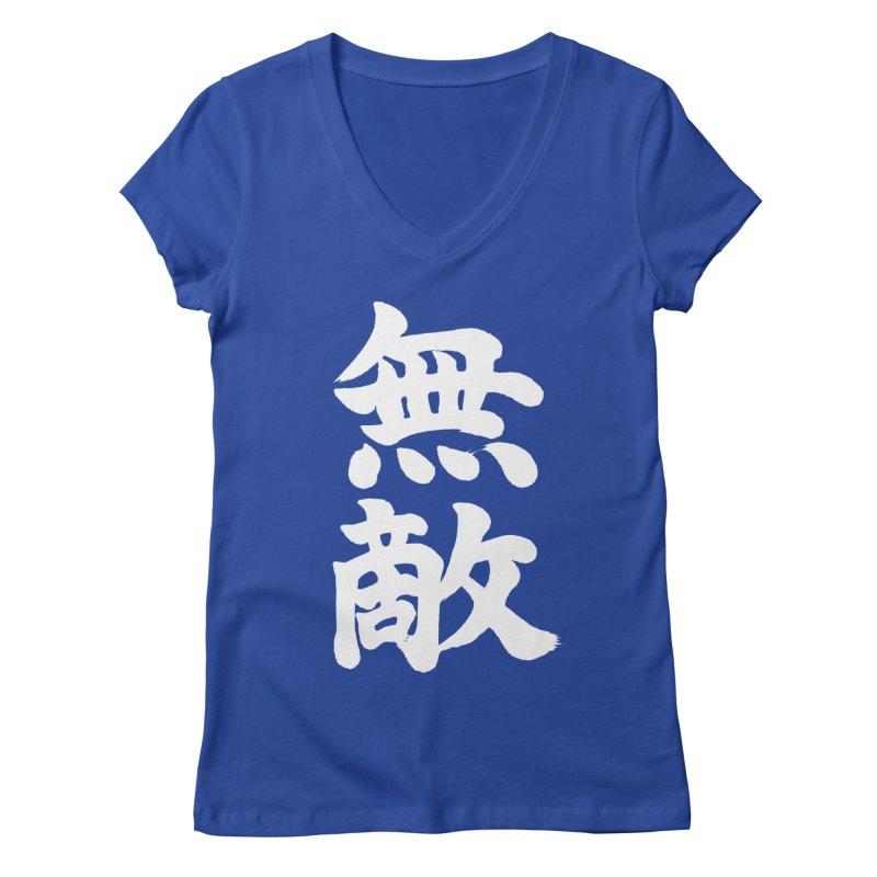 """Invincible"" (Muteki) White Japanese Kanji Women's Regular V-Neck by KansaiChick Japanese Kanji Shop"