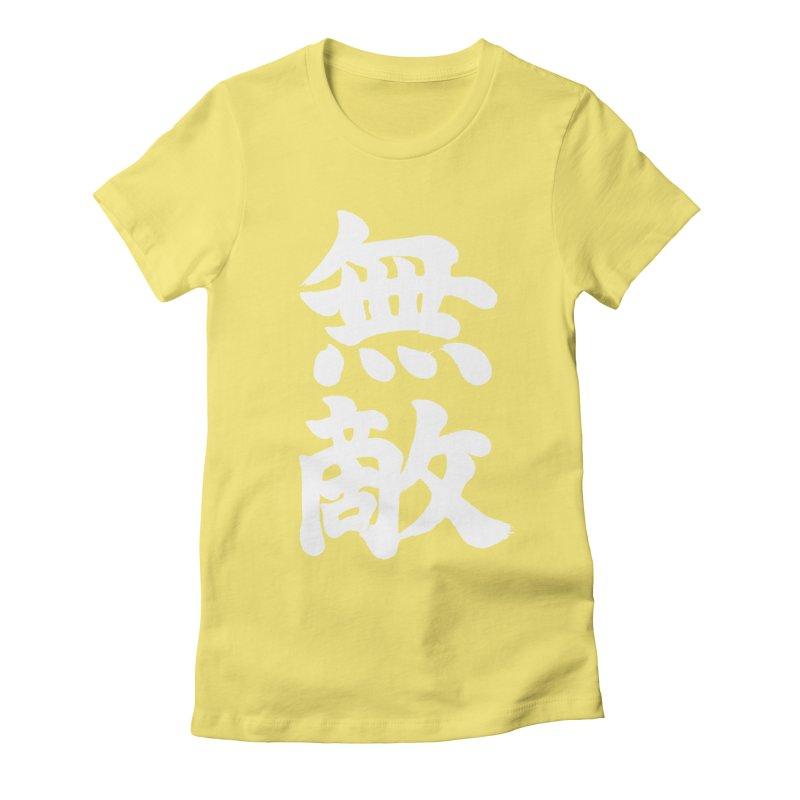 """Invincible"" (Muteki) White Japanese Kanji Women's Fitted T-Shirt by KansaiChick Japanese Kanji Shop"