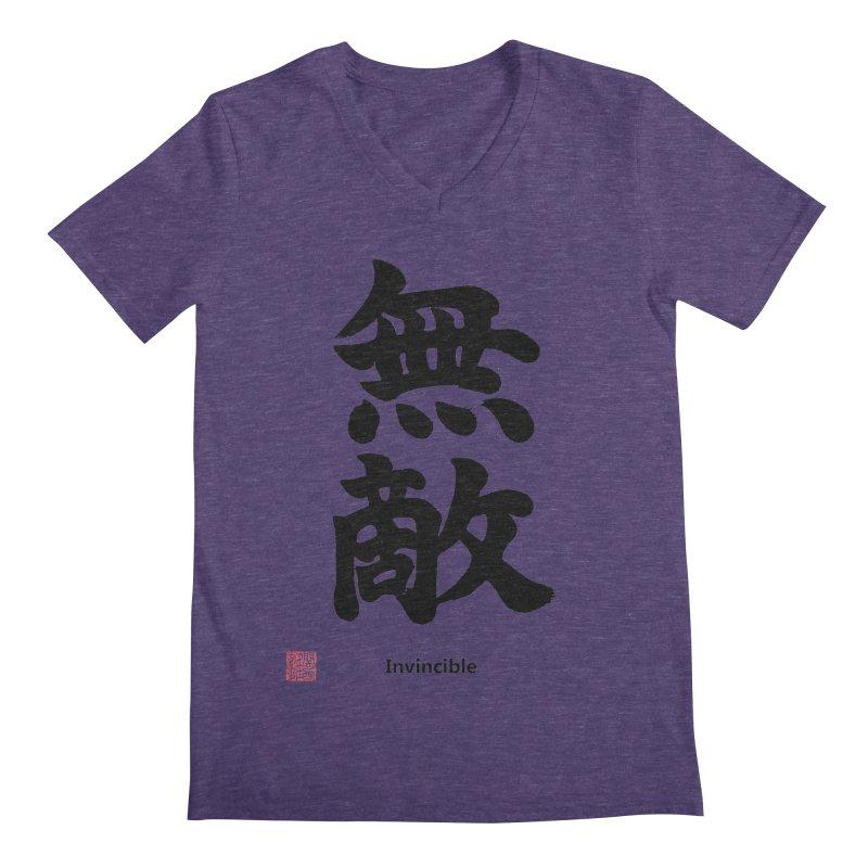 """Invincible"" (Muteki) Black Japanese Kanji with Stamp and English Text Men's Regular V-Neck by KansaiChick Japanese Kanji Shop"