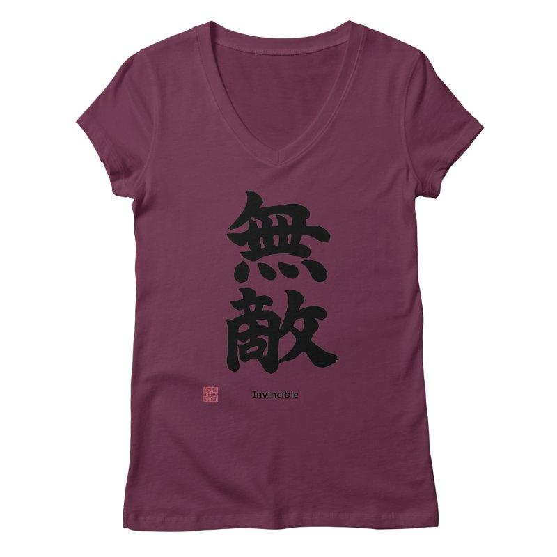 """Invincible"" (Muteki) Black Japanese Kanji with Stamp and English Text Women's Regular V-Neck by KansaiChick Japanese Kanji Shop"