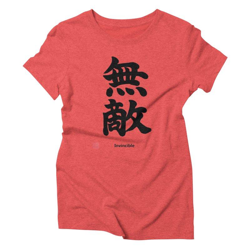 """Invincible"" (Muteki) Black Japanese Kanji with Stamp and English Text Women's Triblend T-Shirt by KansaiChick Japanese Kanji Shop"