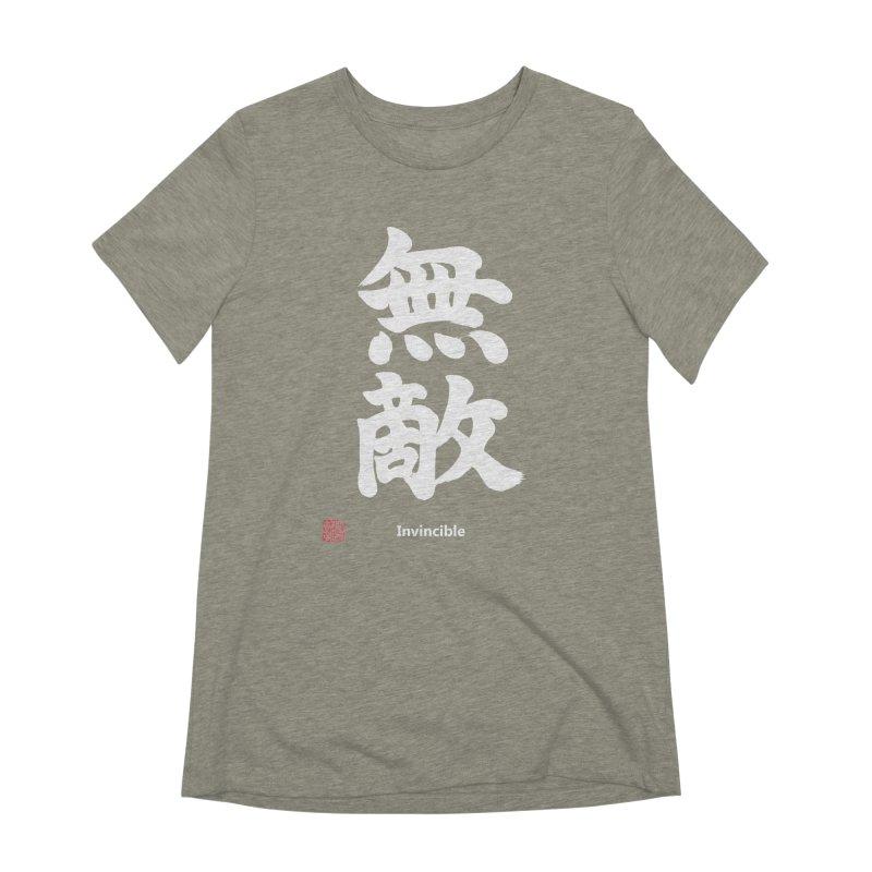 """Invincible"" (Muteki) White Japanese Kanji with Stamp and English Text Women's Extra Soft T-Shirt by KansaiChick Japanese Kanji Shop"