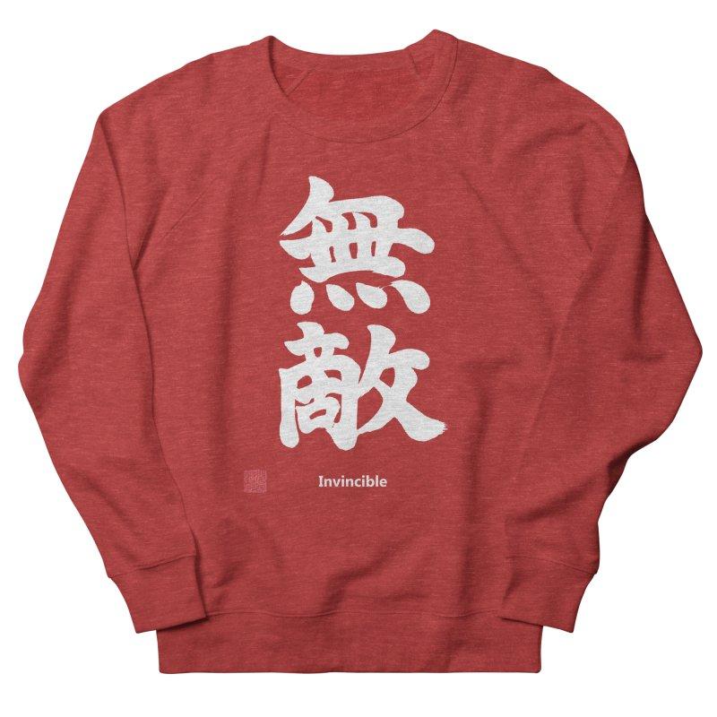 """Invincible"" (Muteki) White Japanese Kanji with Stamp and English Text Women's French Terry Sweatshirt by KansaiChick Japanese Kanji Shop"