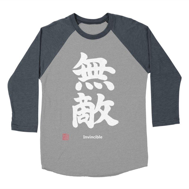 """Invincible"" (Muteki) White Japanese Kanji with Stamp and English Text Women's Baseball Triblend Longsleeve T-Shirt by KansaiChick Japanese Kanji Shop"