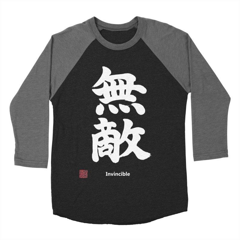 """Invincible"" (Muteki) White Japanese Kanji with Stamp and English Text Men's Baseball Triblend Longsleeve T-Shirt by KansaiChick Japanese Kanji Shop"