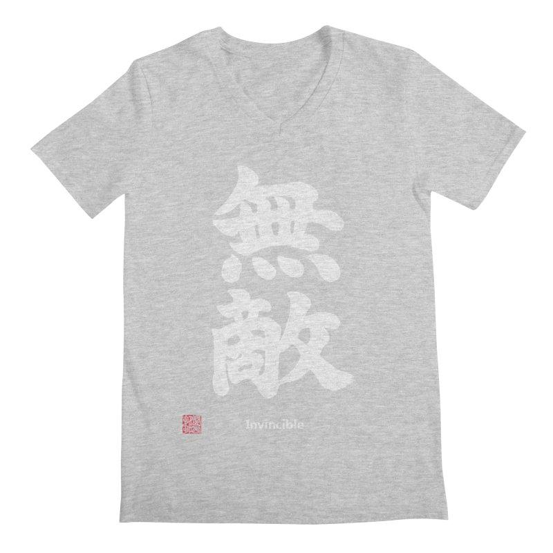 """Invincible"" (Muteki) White Japanese Kanji with Stamp and English Text Men's Regular V-Neck by KansaiChick Japanese Kanji Shop"