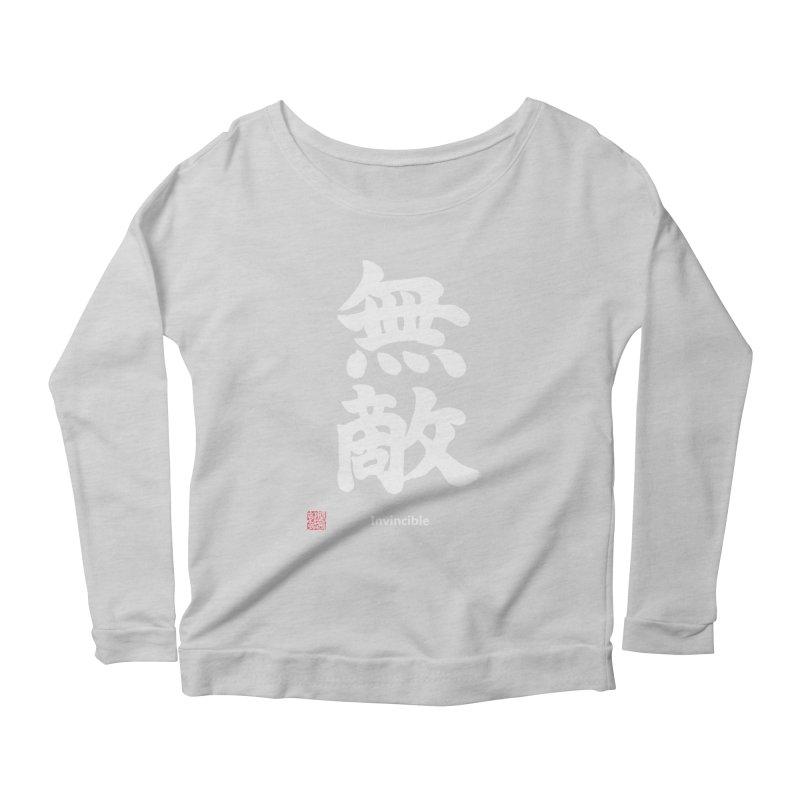 """Invincible"" (Muteki) White Japanese Kanji with Stamp and English Text Women's Scoop Neck Longsleeve T-Shirt by KansaiChick Japanese Kanji Shop"