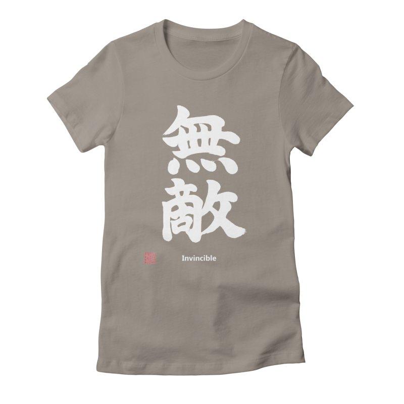"""Invincible"" (Muteki) White Japanese Kanji with Stamp and English Text Women's Fitted T-Shirt by KansaiChick Japanese Kanji Shop"