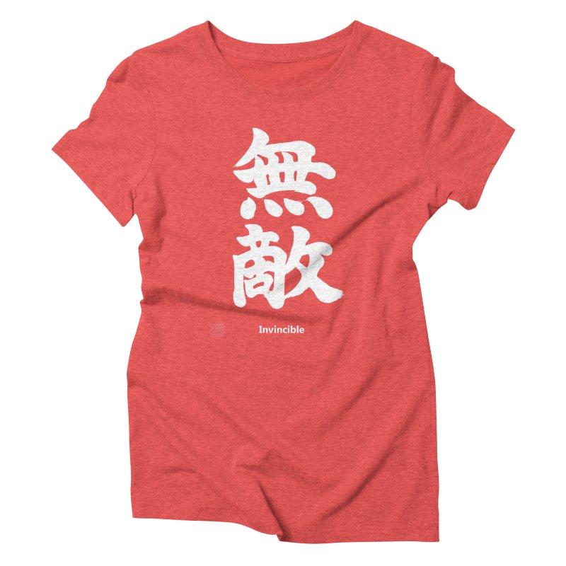"""Invincible"" (Muteki) White Japanese Kanji with Stamp and English Text Women's Triblend T-Shirt by KansaiChick Japanese Kanji Shop"