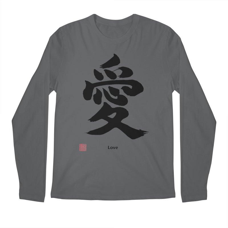 """Love"" (Ai) Japanese Kanji (Black) with Stamp and English text Men's Longsleeve T-Shirt by KansaiChick Japanese Kanji Shop"